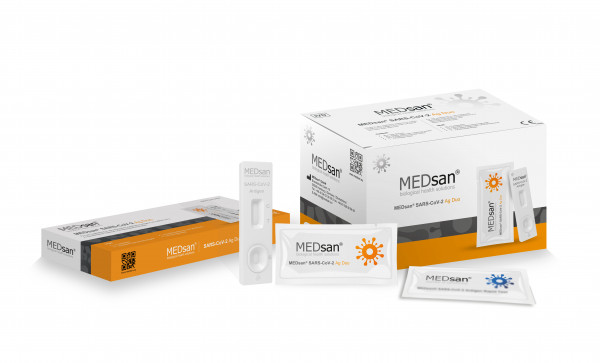 MEDsan SARS-CoV-2 Ag Duo/ Profitest 25er Pack/Saliva (Speichelabstrich), kurzer Nasenabstrich-